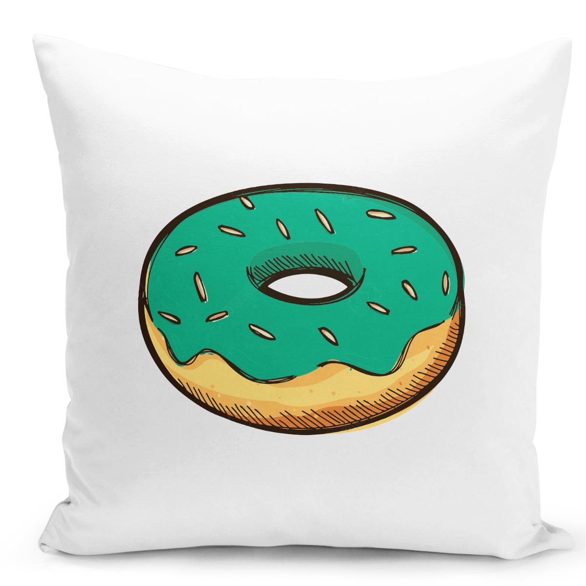 White-Throw-Pillow-Green-Donut-Lovers---Pure-White-Printed-16-x-16-inch-Square-Home-Decor-Couch-Pillow-