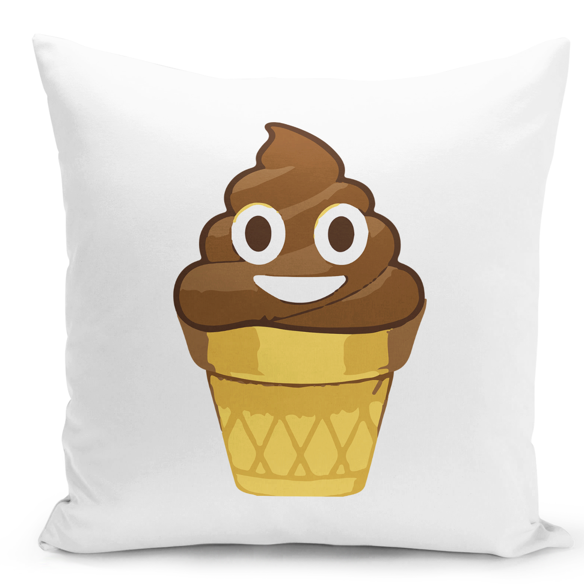 16x16-inch-Throw-Pillow-for-Home-Decor-with-Stuffing-Smily-Poop-Emoji-Ice-Cream-Cone-Funny-Pillow-