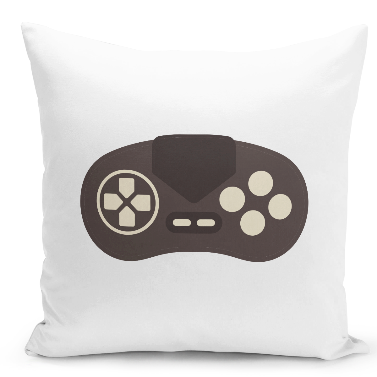 White-Throw-Pillow-Gamers-Pillow-Game-Controller-Print---Pure-White-Printed-16-x-16-inch-Square-Home-Decor-Couch-Pillow-