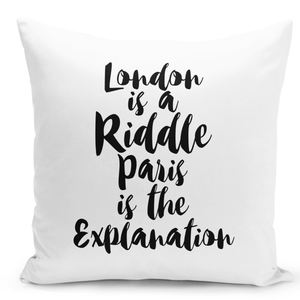 16x16-inch-Throw-Pillow-for-Home-Decor-with-Stuffing-London-Is-a-Riddle-Paris-Is-Explaination-Pillow-With-Words-