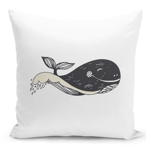 White-Throw-Pillow-Sea-Life-Whale-Print-Nautical-Theme-Marine-Animal-Pillow---Pure-White-Printed-16-x-16-inch-Square-Home-Decor-Couch-Pillow-