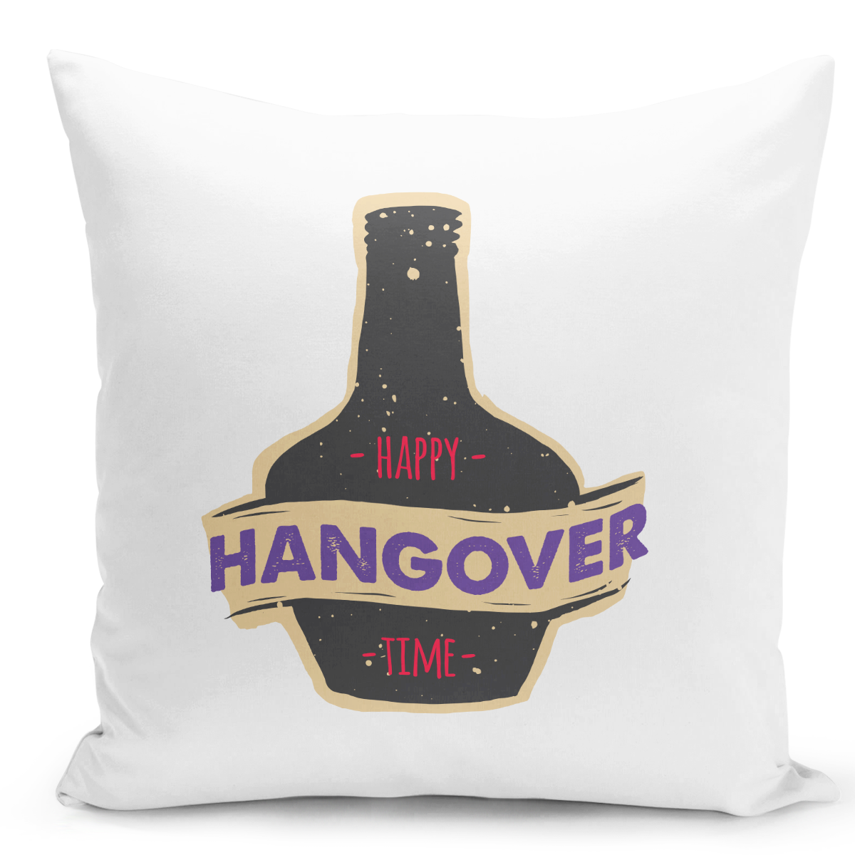 White-Throw-Pillow-Happy-Hangover-Time-Happy-Hour-Bottle---Pure-White-Printed-16-x-16-inch-Square-Home-Decor-Couch-Pillow-