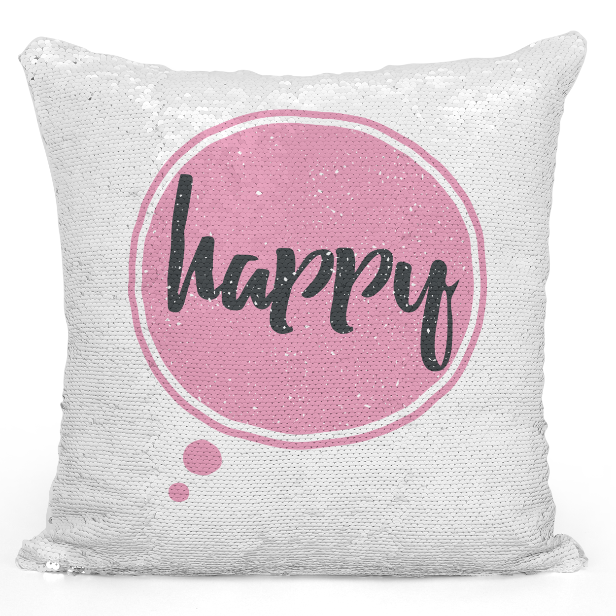 Sequin Pillow Magic Mermaid Throw Pillow Happy Pink Girly Pillow - Pure White Printed 16 x 16 inch Square Home Decor Couch Pillow Loud Universe
