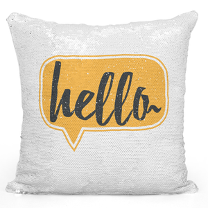 Sequin Pillow Magic Mermaid Throw Pillow Hello Yellow Pillow - Pure White Printed 16 x 16 inch Square Home Decor Couch Pillow Loud Universe
