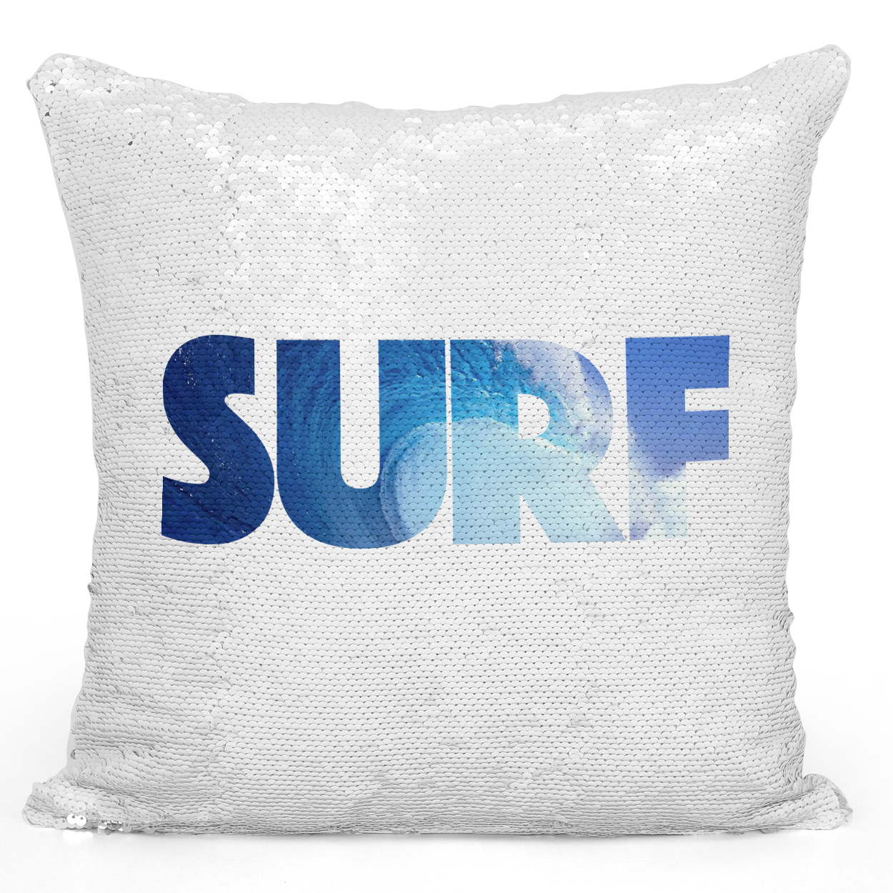 Sequin Pillow Magic Mermaid Throw Pillow Surf Sea Beach House Guest House Pillow - Pure White Printed 16 x 16 inch Square Home Decor Couch Pillow Loud Universe
