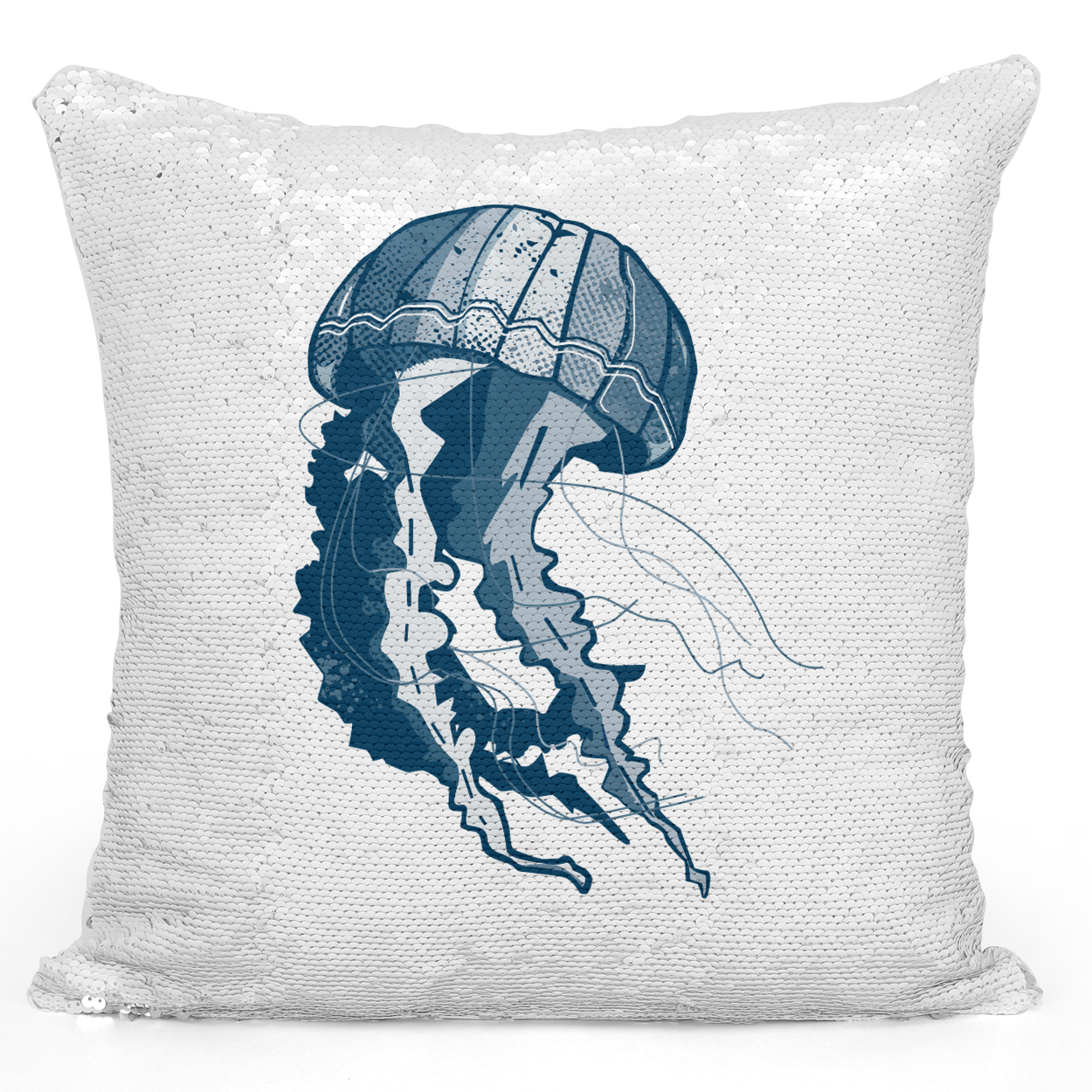 Sequin Pillow Magic Mermaid Throw Pillow Beach House Pillow Jelly Fish Natical Marine Animals Sea Life Pillow - Pure White Printed 16 x 16 inch Square Home Decor Couch Pillow Loud Universe