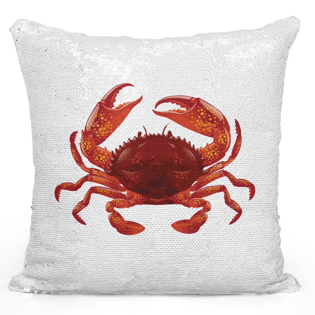 Sequin Pillow Magic Mermaid Throw Pillow Red Crab Nautical Sea Life Beachhouse Pillow - Pure White Printed 16 x 16 inch Square Home Decor Couch Pillow Loud Universe