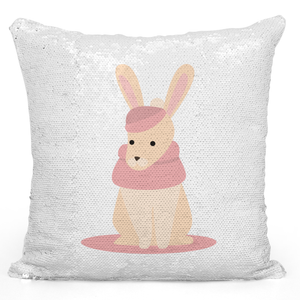 Sequin Pillow Magic Mermaid Throw Pillow Cozy Winter Rabbit Cartoon - Durable White 16 x 16 inch Square Home Accent Pillow Sofa Cushion Loud Universe