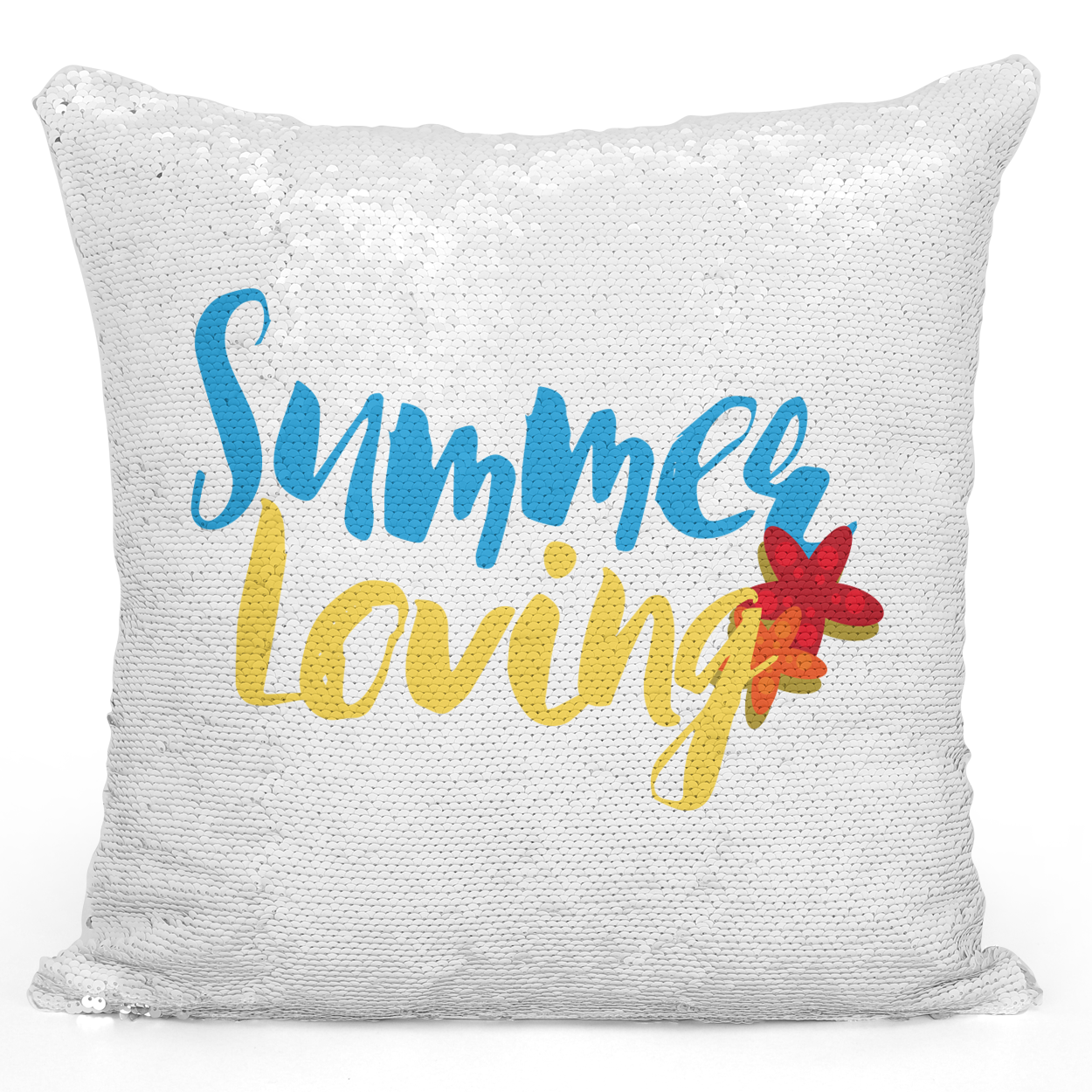 Sequin Pillow Magic Mermaid Throw Pillow Summer Loving Happy Summer Pillow - Pure White Printed 16 x 16 inch Square Home Decor Couch Pillow Loud Universe