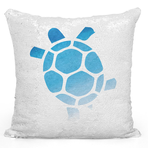 Sequin Pillow Magic Mermaid Throw Pillow Water Color Turtle Marine Aimals Sea Life Pillow - Pure White Printed 16 x 16 inch Square Home Decor Couch Pillow Loud Universe