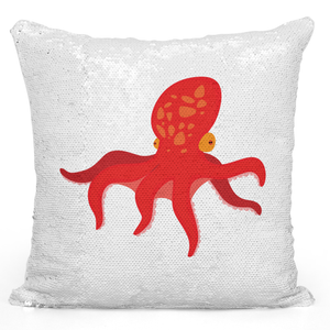 Sequin Pillow Magic Mermaid Throw Pillow Octopus Marine Animals Sea Life Pillow Nautical Theme - Pure White Printed 16 x 16 inch Square Home Decor Couch Pillow Loud Universe