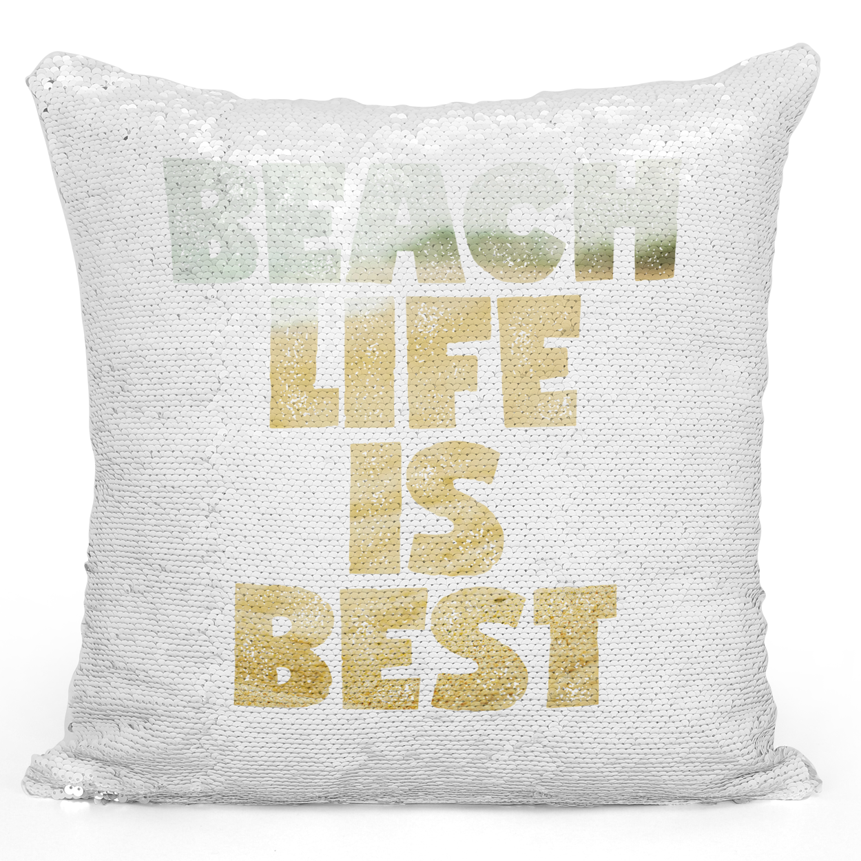 Sequin Pillow Magic Mermaid Throw Pillow Beach Life Is Best Summer Vacation House Pillow - Pure White Printed 16 x 16 inch Square Home Decor Couch Pillow Loud Universe
