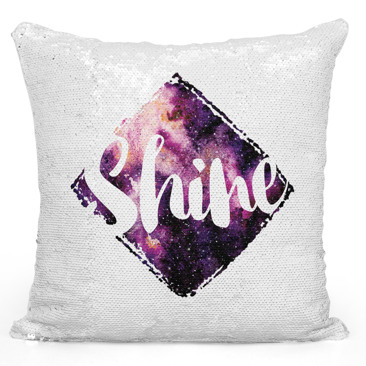Sequin Pillow Magic Mermaid Throw Pillow Shine Galaxy And Stars Astronomy Theme - Pure White Printed 16 x 16 inch Square Home Decor Couch Pillow Loud Universe