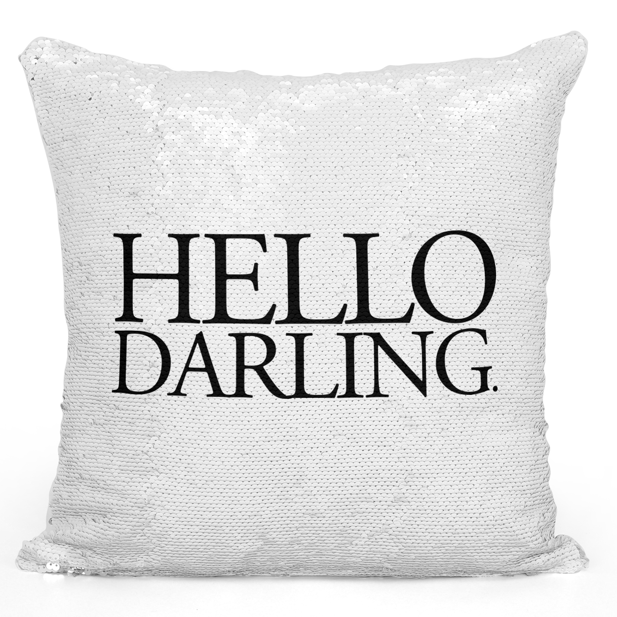 Sequin Pillow Magic Mermaid Throw Pillow Hello Darling - Durable White 16 x 16 inch Square Home Office Decor Accent Pillow Loud Universe