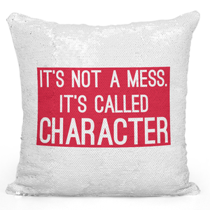 Sequin Pillow Magic Mermaid Throw Pillow Its Not a Mess Its Called a Character Red Printed Pillow - Durable White 16 x 16 inch Square Home Office Decor Accent Pillow Loud Universe