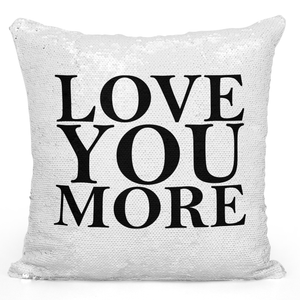 Sequin Pillow Magic Mermaid Throw Pillow Love You More Couples Pillow - Durable White 16 x 16 inch Square Home Office Decor Accent Pillow Loud Universe
