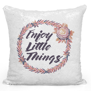 Sequin Pillow Magic Mermaid Throw Pillow Enjoy Little Things Cute Floral Wreath For Girls - Durable White 16 x 16 inch Square Home Office Decor Accent Pillow Loud Universe