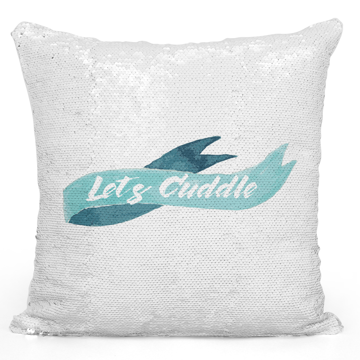 Sequin Pillow Magic Mermaid Throw Pillow Lets Cuddle Blue Watercolor Ribbon - Durable White 16 x 16 inch Square Home Office Decor Accent Pillow Loud Universe