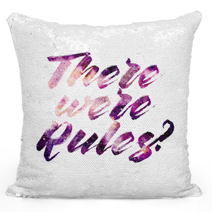 Sequin Pillow Magic Mermaid Throw Pillow There Were Rules - Durable White 16 x 16 inch Square Home Office Decor Accent Pillow Loud Universe