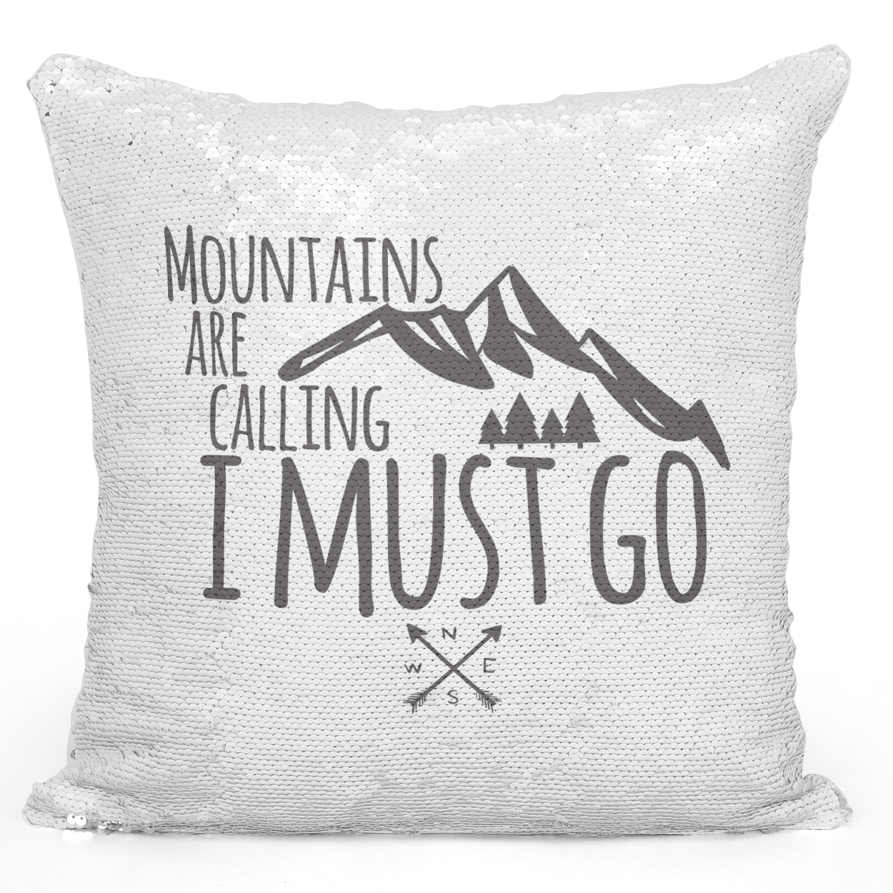 Sequin Pillow Magic Mermaid Throw Pillow Mountain Are Calling i Must Go Adventure Lovers Pillow - High Quality White 16 x 16 inch Square Home Office Decor Accent Pillow Loud Universe