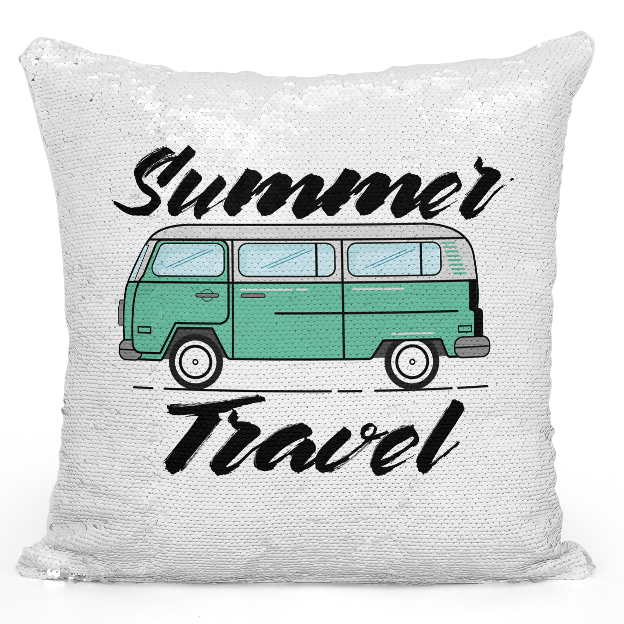 Sequin Pillow Magic Mermaid Throw Pillow Summer Travel Green Van Pillow Summer Fun Adventures - High Quality White 16 x 16 inch Square Home Office Decor Accent Pillow Loud Universe