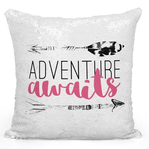Sequin Pillow Magic Mermaid Throw Pillow Adventure Awaits Tribal Arrow Pillow - High Quality White 16 x 16 inch Square Home Office Decor Accent Pillow Loud Universe