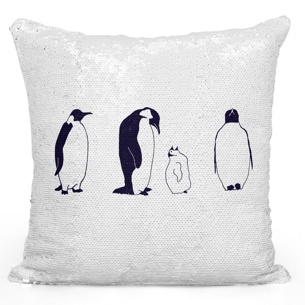 Sequin Pillow Magic Mermaid Throw Pillow Penguin Family Mama Penguin Arctic Animal Pillow - High Quality White 16 x 16 inch Square Livingroom Sofa Couch Pillow Loud Universe