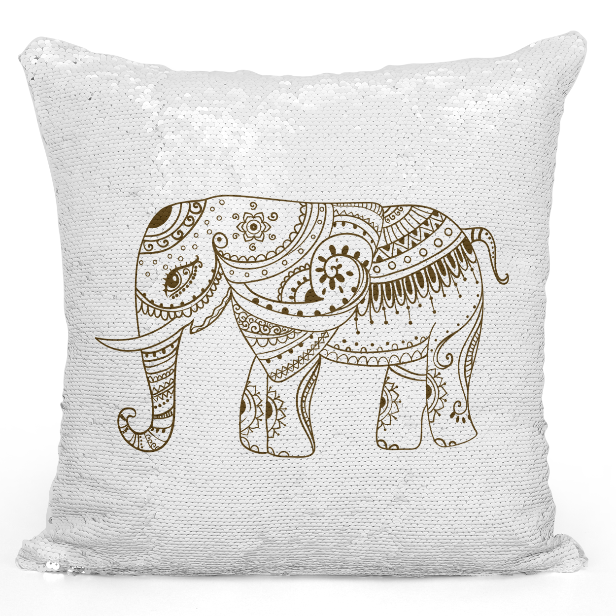 Sequin Pillow Magic Mermaid Throw Pillow Indian Mandala Elephant Bohemian Style Pillow - High Quality White 16 x 16 inch Square Livingroom Sofa Couch Pillow Loud Universe
