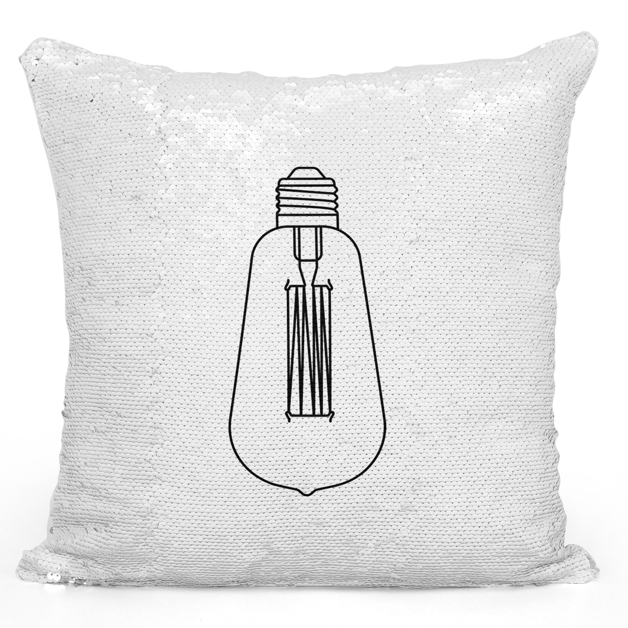 Sequin Pillow Magic Mermaid Throw Pillow Edison Bulb Vintage Style Bulb Pillow - High Quality White 16 x 16 inch Square Livingroom Sofa Couch Pillow Loud Universe