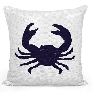 Sequin Pillow Magic Mermaid Throw Pillow Crab Sea Life Sea Food Crab Silhouette Pillow - High Quality White 16 x 16 inch Square Livingroom Sofa Couch Pillow Loud Universe