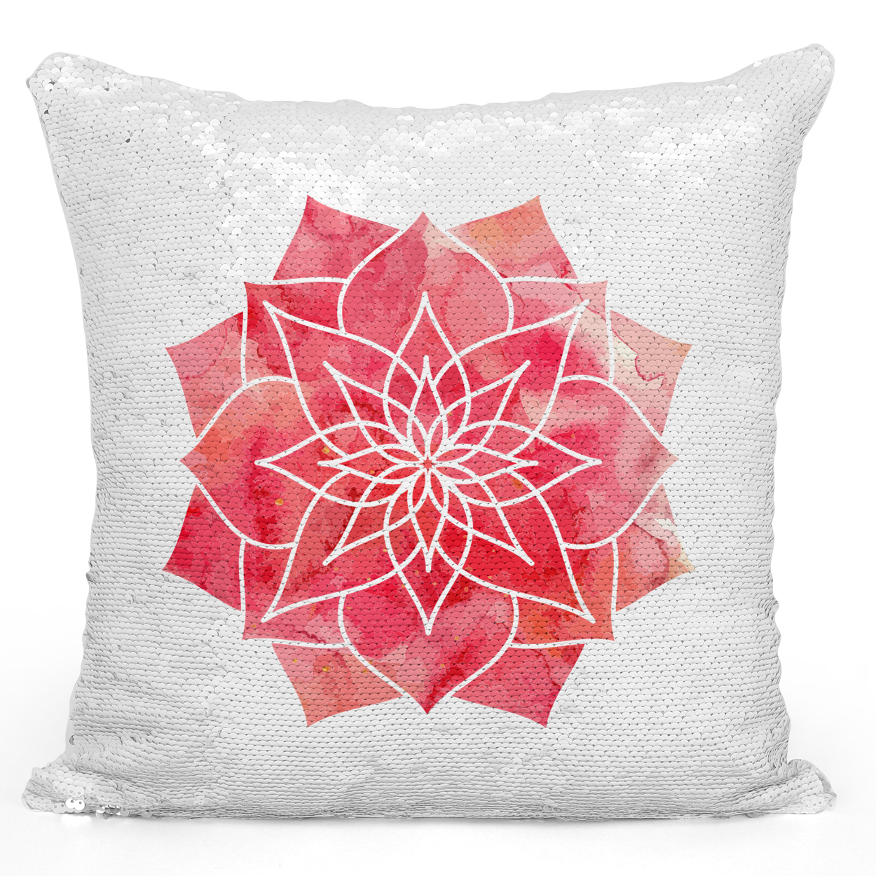 Sequin Pillow Magic Mermaid Throw Pillow Watercolor Boho Madala Pillow - Durable White 16 x 16 inch Square Livingroom Sofa Couch Pillow Loud Universe