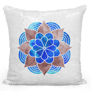 Sequin Pillow Magic Mermaid Throw Pillow Blue Watercolor Bohemian Mandala Pillow - Durable White 16 x 16 inch Square Livingroom Sofa Couch Pillow Loud Universe