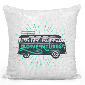 Sequin Pillow Magic Mermaid Throw Pillow Say Yes To New Adventures Rv Pillow - Durable White 16 x 16 inch Square Livingroom Sofa Couch Pillow Loud Universe