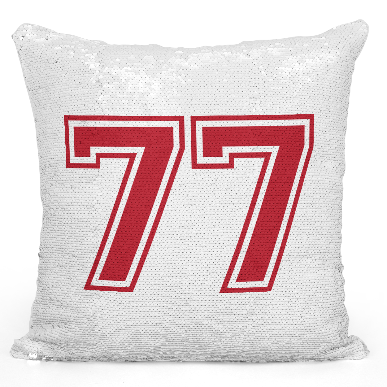Sequin Pillow Magic Mermaid Throw Pillow Sports Team Player Number 77 Red - Durable White 16 x 16 inch Square Livingroom Sofa Couch Pillow Loud Universe