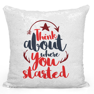 Sequin Pillow Magic Mermaid Throw Pillow Think About Where You Started Red Motivationl Pillow - Durable White 16 x 16 inch Square Livingroom Sofa Couch Pillow Loud Universe