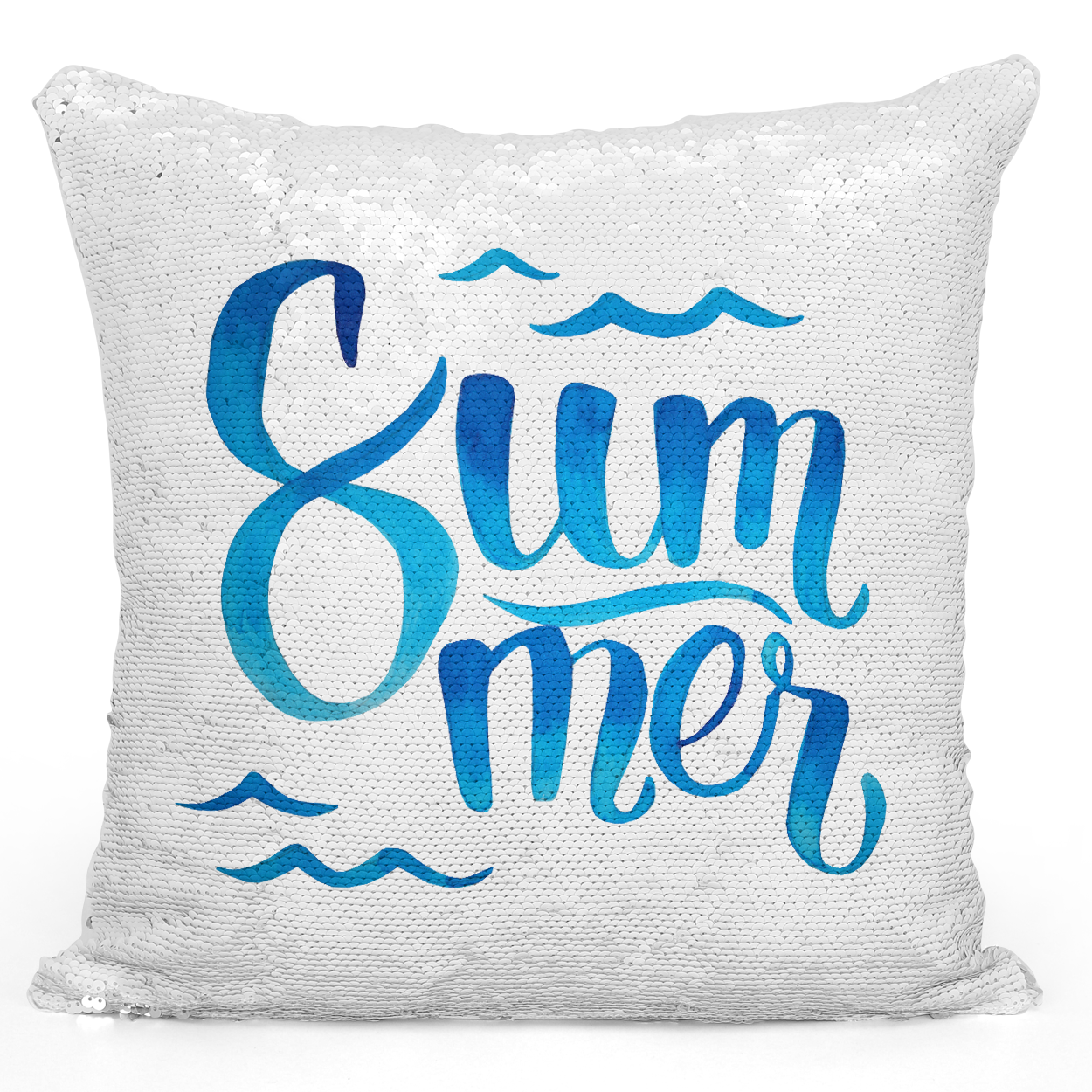 Sequin Pillow Magic Mermaid Throw Pillow Blue Watercolor Summer Pillow Beach Waves - Durable White 16 x 16 inch Square Livingroom Sofa Couch Pillow Loud Universe