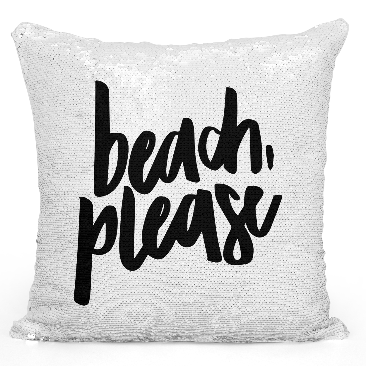 Sequin Pillow Magic Mermaid Throw Pillow Beach Please Black And White Beach Summer Pillow - Durable White 16 x 16 inch Square Livingroom Sofa Couch Pillow Loud Universe
