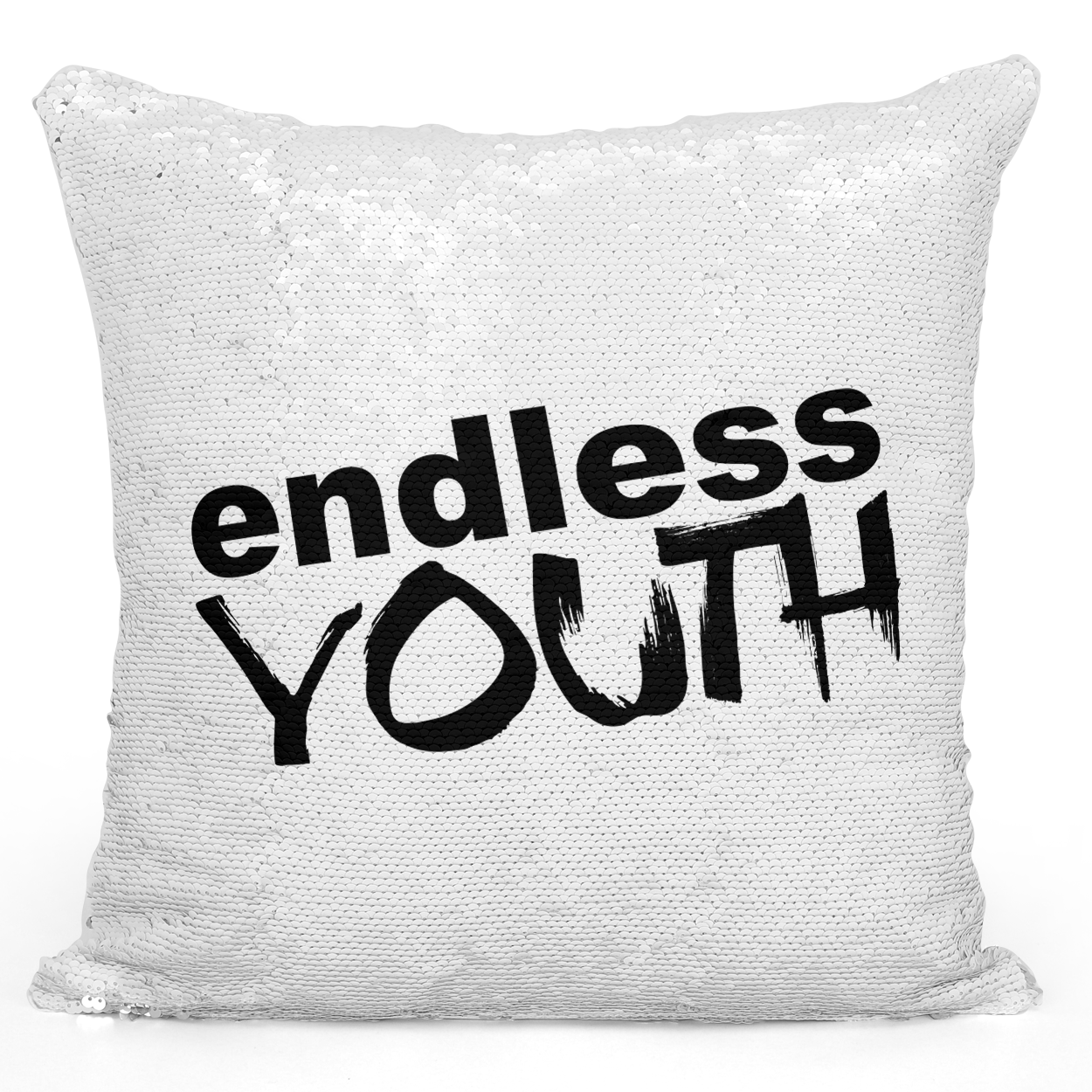 Sequin Pillow Magic Mermaid Throw Pillow Endless Youth Pillow - Durable White 16 x 16 inch Square Livingroom Sofa Couch Pillow Loud Universe
