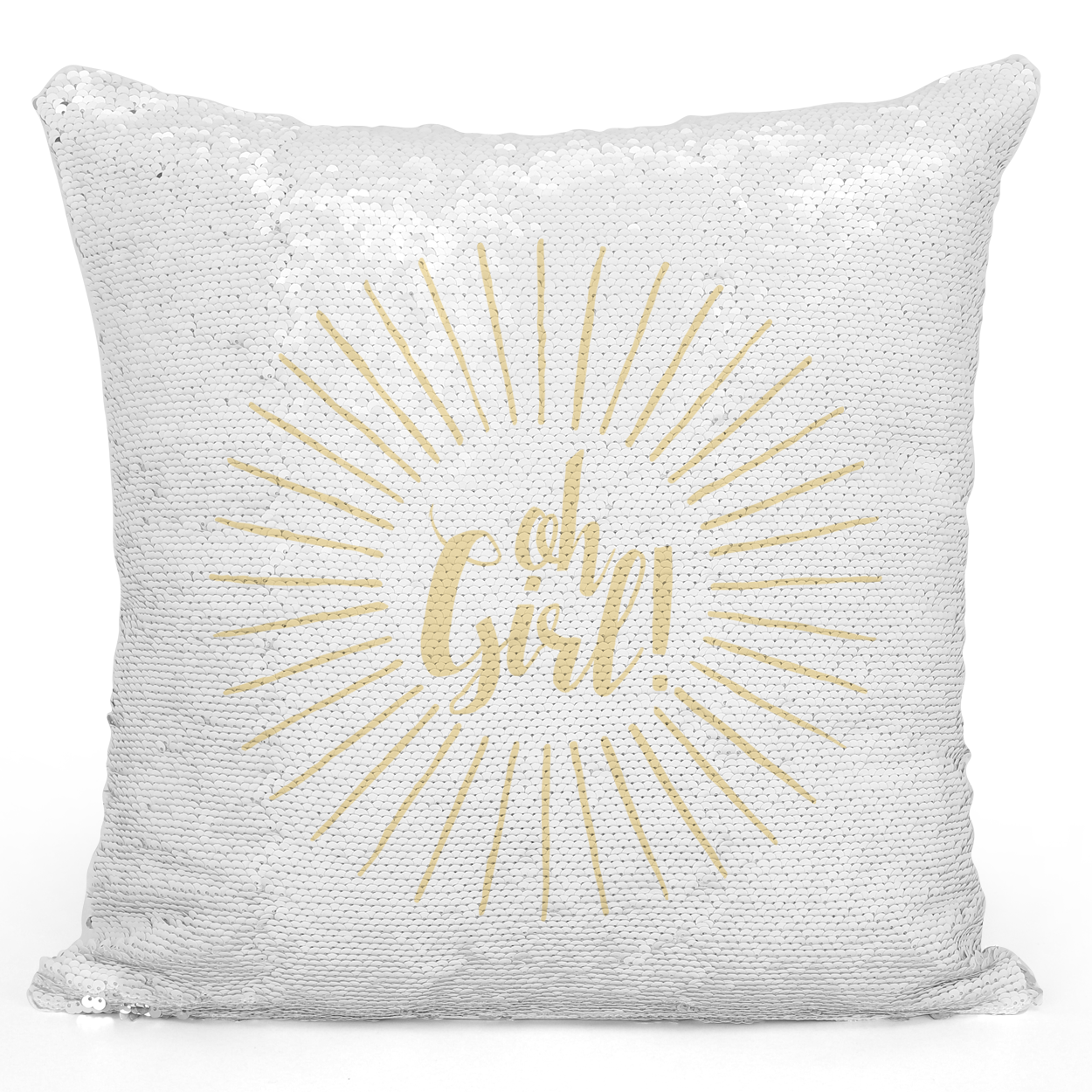 Sequin Pillow Magic Mermaid Throw Pillow Oh Girl Comic Style Pillow - Durable White 16 x 16 inch Square Livingroom Sofa Couch Pillow Loud Universe