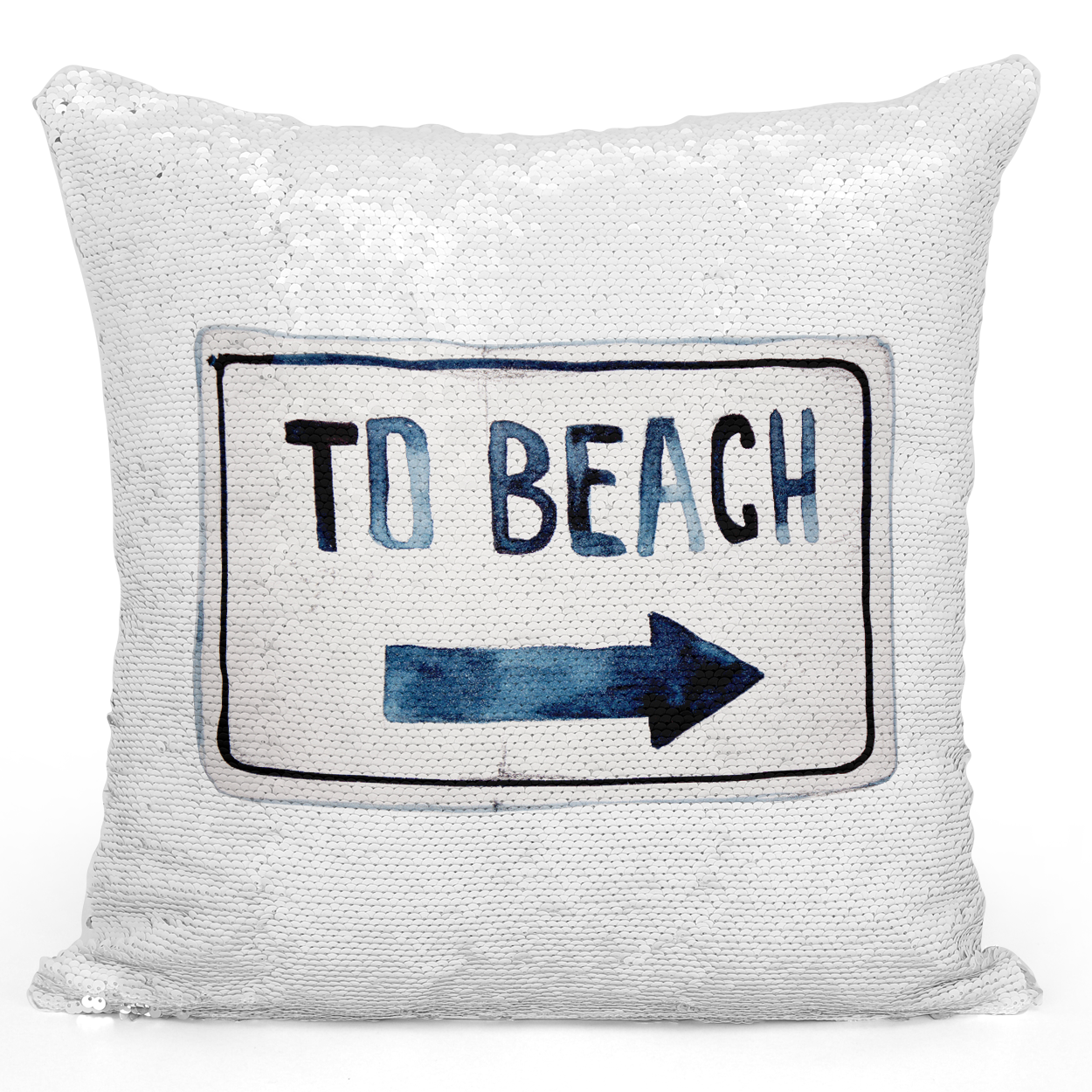 Sequin Pillow Magic Mermaid Throw Pillow To Beach Lovely Summer Beach House Vacation Home Pillow - Durable White 16 x 16 inch Square Livingroom Sofa Couch Pillow Loud Universe
