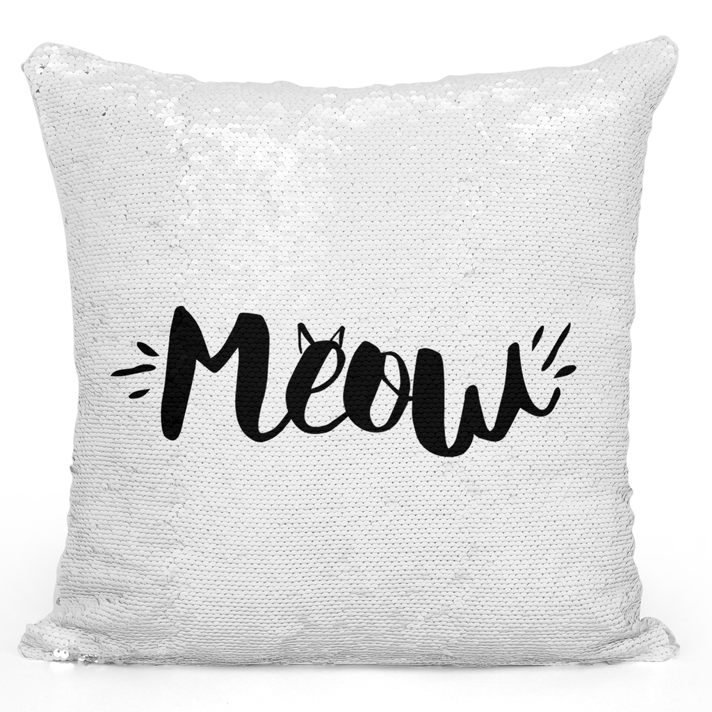 Sequin Pillow Magic Mermaid Throw Pillow Meow Pet Cat Lovers Animals Pillow - Durable White 16 x 16 inch Square Livingroom Sofa Couch Pillow Loud Universe
