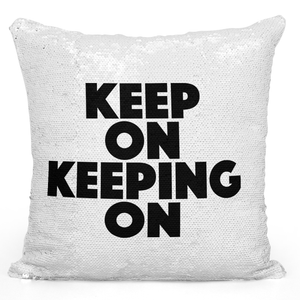 Sequin Pillow Magic Mermaid Throw Pillow Keep On Moving On Quote Pillow - Durable White 16 x 16 inch Square Livingroom Sofa Couch Pillow Loud Universe