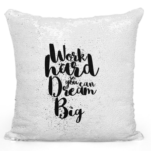 Sequin Pillow Magic Mermaid Throw Pillow Work Hard Dream Big - Durable White 16 x 16 inch Square Livingroom Sofa Couch Pillow Loud Universe