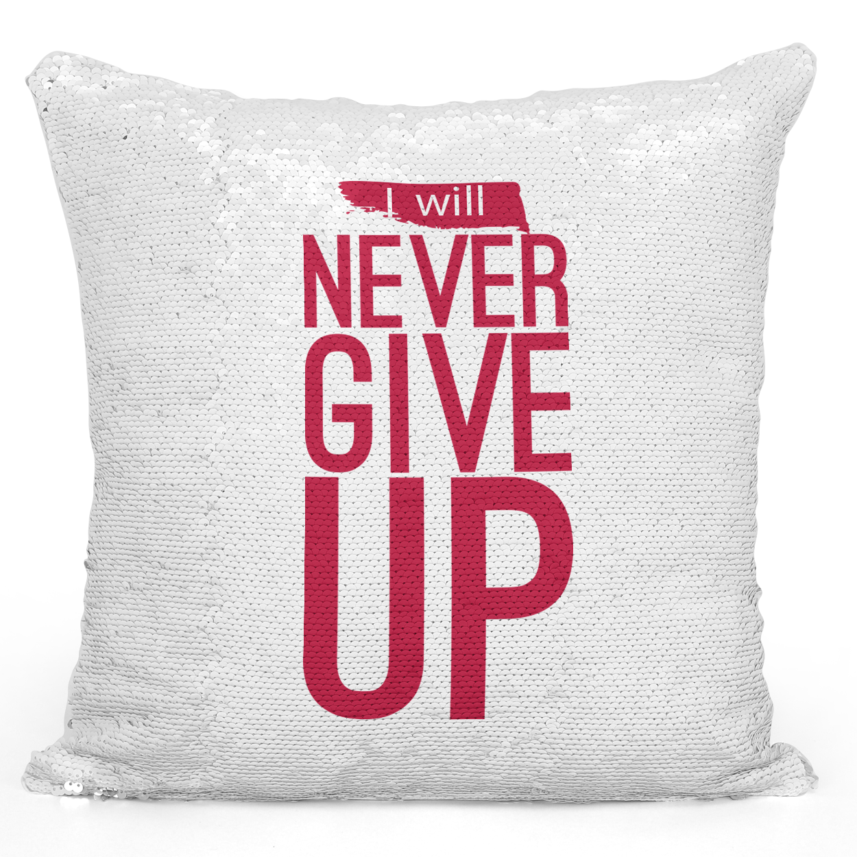 Sequin Pillow Magic Mermaid Throw Pillow i Will Never Give Up Motivational Quote Red Pillow - Premium 100% Polyester 16 x 16 inch Square Livingroom Sofa Couch Pillow Loud Universe