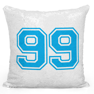 Sequin Pillow Magic Mermaid Throw Pillow Sports Team Player Number 99 Blue Pillow - Premium 100% Polyester 16 x 16 inch Square Livingroom Sofa Couch Pillow Loud Universe