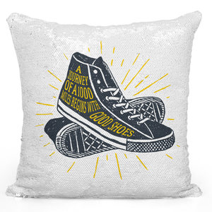 Sequin Pillow Magic Mermaid Throw Pillow Good Shoes a Journey Of a 1000 Miles Travellers Quote Show Silhouette Pillow - Premium 100% Polyester 16 x 16 inch Square Livingroom Sofa Couch Pillow Loud Universe