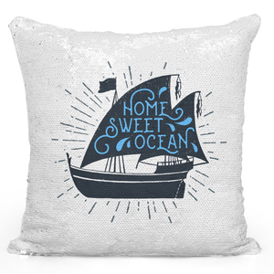 Sequin Pillow Magic Mermaid Throw Pillow Home Sweet Ocean Sail Boat Pillow Sea Theme Pillow - Premium 100% Polyester 16 x 16 inch Square Livingroom Sofa Couch Pillow Loud Universe