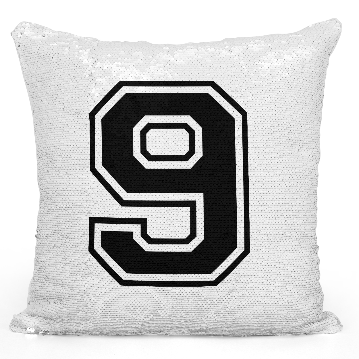Sequin Pillow Magic Mermaid Throw Pillow Sports Team Player Number 9 In Black - Premium 100% Polyester 16 x 16 inch Square Modern Livingroom Decorative Pillow Loud Universe