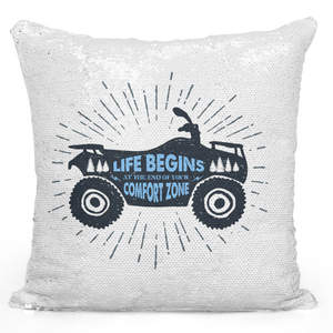 Sequin Pillow Magic Mermaid Throw Pillow Life Begins At The End Of The Comfort Zone Dirt Bike Silhouette Pillow - Premium 100% Polyester 16 x 16 inch Square Modern Livingroom Decorative Pillow Loud Universe