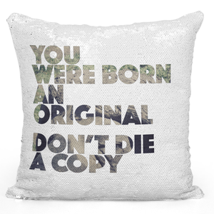 Sequin Pillow Magic Mermaid Throw Pillow You Were Born An Original Motivational Quote Pillow - Premium 100% Polyester 16 x 16 inch Square Modern Livingroom Decorative Pillow Loud Universe
